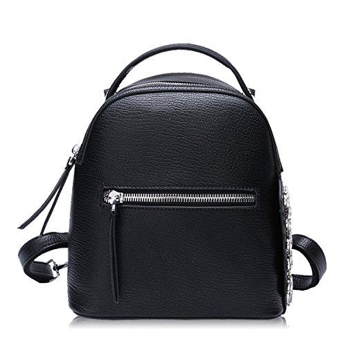 Flada mochila para niñas PU cuero moda casual diario mochila libro bolsa con diamantes de imitación negro Negro