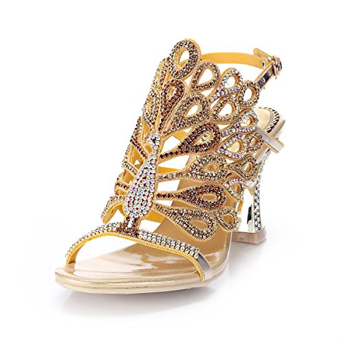 Abby MNS-L004 Womens Sexy Unique Wedding Bride Show Comfort Surprising Fashion Leather Mid Heel Sandals Gold US ()