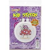 Janlynn Kid Stitch 11 Count Snail and Mushroom Mini Counted Cross Stitch Kit, 3-Inch