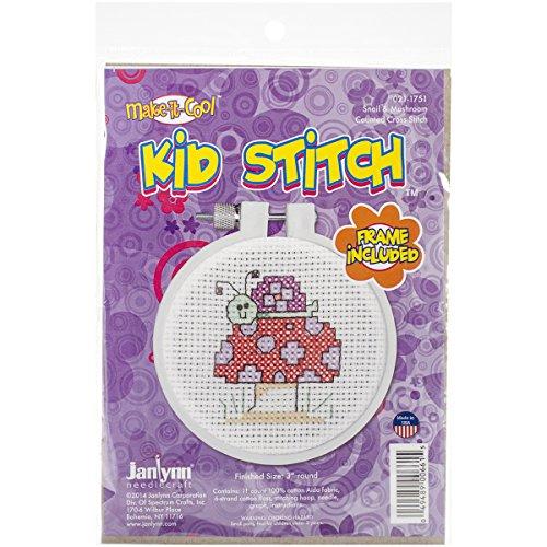 3 Cross Stitch Kits (Janlynn Kid Stitch 11 Count Snail and Mushroom Mini Counted Cross Stitch Kit, 3-Inch)