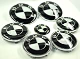 BMW Black White Emblem Logo Badge Set 7-pc Set 82mm/73mm Hood/Trunk, FREE Shipping with tracking number