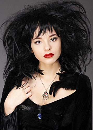 Deluxe Womens Gothic Vampire Black Back Combed Wig -