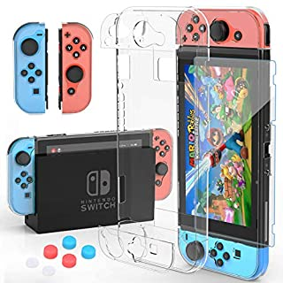 HEYSTOP Nintendo Switch Case Dockable Clear Protective Case Cover for Nintendo Switch and Joy-Con Controller with a Nintendo Switch Screen Protector and Thumb Stick Caps