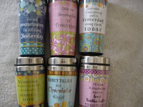Set of 6 Assorted Double Wall Insulated Travel Mug w/Lid (Travel Mugs Ganz)