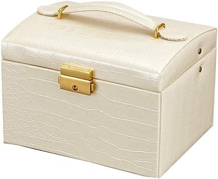 HKHJ Caja Joyero Portatil para Mujer, Cajas para Joyas con 2 Cajones Organizador de Joyería con Espejo y Cerradura para Pulsera Relojes Collares Anillos Estuches para Joyeria Regalo para Niñas,Beige: Amazon.es: Deportes