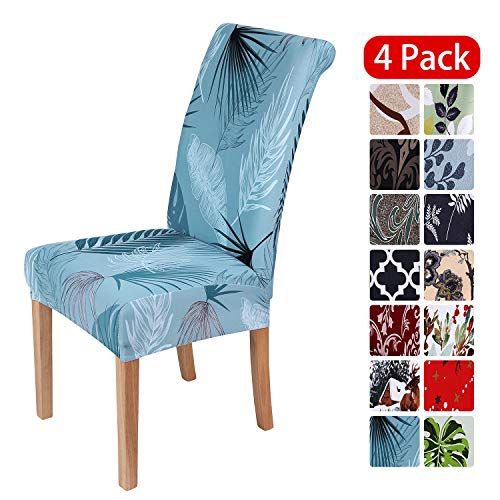 smiry Stretch Printed Dining Chair Covers, Spandex Removable Washable Dining Chair Protector Slipcovers for Home, Kitchen, Party, Restaurant – Set of 4, Blue