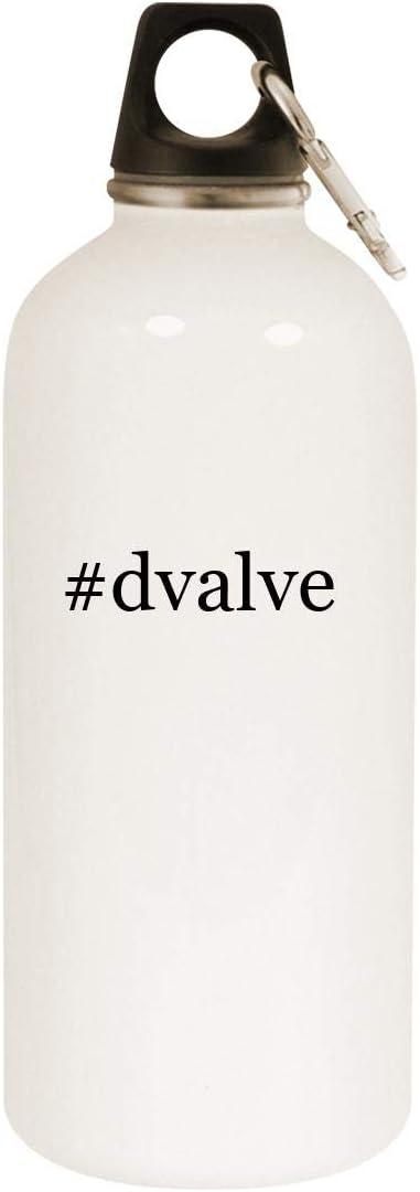 #dvalve - 20oz Hashtag Stainless Steel White Water Bottle with Carabiner, White 51CWEpfOCfL