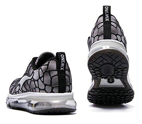 ONEMIX Air Zapatillas de Running para Hombre Zapatos para Correr y Asfalto Aire Libre y Deportes Calzado Negro / blanco