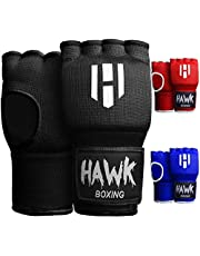 Hawk Padded Inner Gloves Training Gel Elastic Hand Wraps for Boxing Gloves Quick Wraps Men & Women Kickboxing Muay Thai MMA Bandages Fist Knuckle Wrist Wrap Protector Handwraps (Pair)