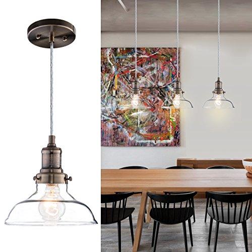 Donglaimei Mini Vintage Clear Glass Pendant Light, Edison Industrial Design Hanging Fixture Lights, Single Bulb Lighting for Kitchen Island, Living Room, Dining Room(1 (Light Kitchen Island Lighting Fixture)