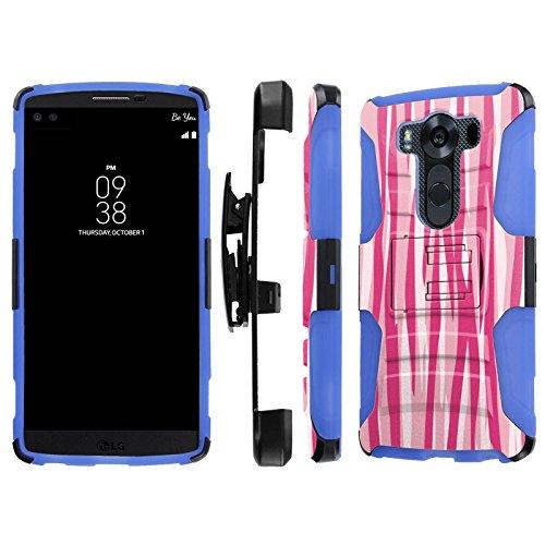 Click to buy LG V10 / G4 Pro Case, [NakedShield] [Black/Blue] Heavy Duty Holster Armor Tough Case - [Two Tones Pink Zebra Stripes] for LG V10 / G4 Pro - From only $12.79