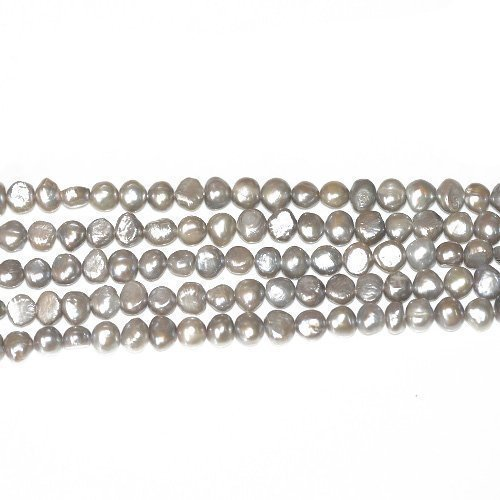 Fil De 40+ Argent/Gris Perle D'Eau Douce 8-9mm Perles Baroques - (FP1678-5) - Charming Beads