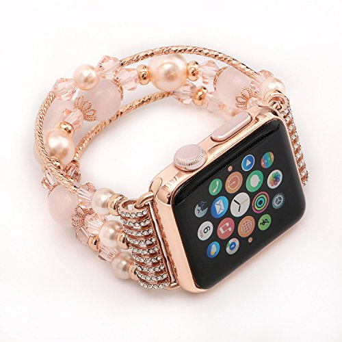 Price comparison product image 42mm for Apple Watch Band agate, Series 2 Women Replacement Strap Stretch Pearl Natural Stone Bracelet