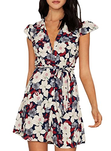 Printed Tie Dress (Azbro Women's Deep V Neck Floral Printed Tie Waist Dress, Beige)