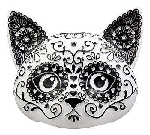 (Ebros Day of The Dead Masquerade Sugar Skull Kitty Cat Head Figurine 5