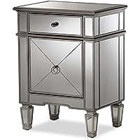 Baxton Studio Claudia Mirrored Nightstand in Silver