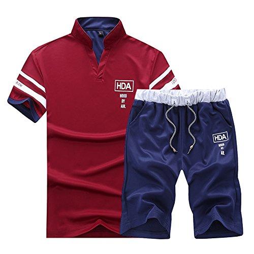 Suit De shirt Casual Pièces 2 Rouge Manche Homme Pantalon Polo Courte Ensemble T Sport Survêtement 7tnBq4p