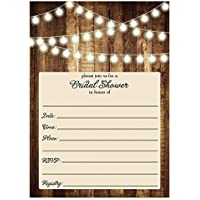 1269036bba5 Rustic Bridal Shower Invitations with Envelopes (Pack of 25) Wood   Lights  Fill In