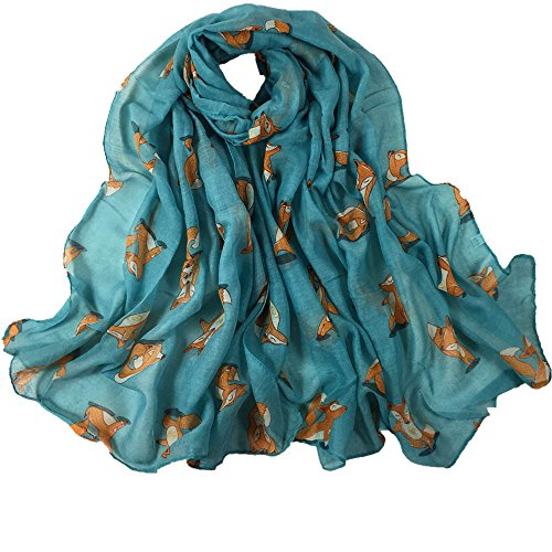 SuNiSER Women Scarf,Printing Long Soft Squirrel Solid Color Wrap Slik Shawl Scarves Blue