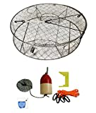 KUFA Stainless Steel Crab Trap with Zinc Anode & Accessory Kit (100' Lead CoreRope, Clipper,Harness,Bait Case & 11'' Red/White Float) CT100+CAQ1+ZIN1K