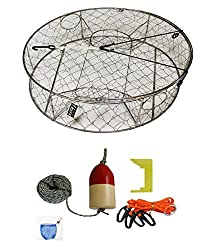 "Kufa Stainless Steel Crab Trap With Zinc Anode & Accessory Kit (100' Lead Corerope, Clipper,harness,bait Case & 14"" Redwhite Float) Ct100+caq3+zin1"