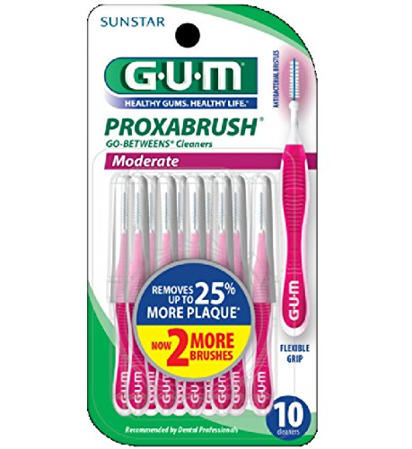 G-U-M Go-Betweens Proxabrush Cleaners Moderate - 10 Count, Pack of 2 by Sunstar Americas, Inc