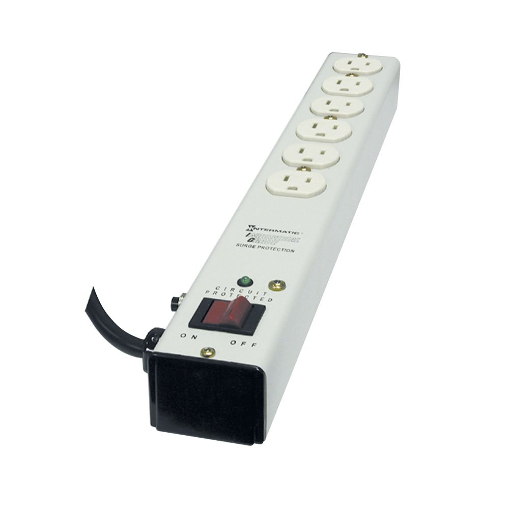 Intermatic IG2012B153 Metal Surge Strip with Six Specification Grade Outlets with 15-Foot Cord, Ivory by Intermatic