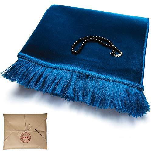 Saray Premium Muslim Prayer Rug Gift Set, Turkish Prayer Rugs, Mat with 33 Count Prayer Beads-Tesbih (Blue)