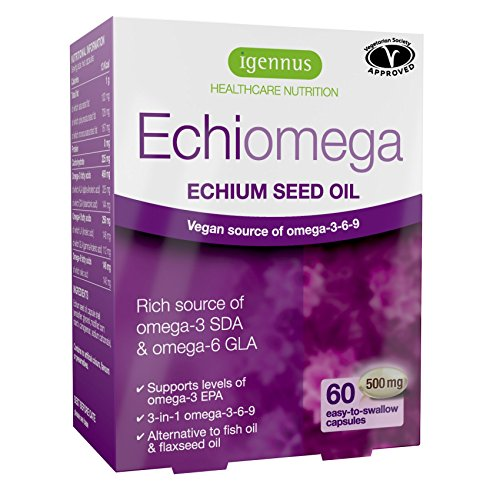 Echiomega Vegetarian Echium Seed Oil Omega-3-6-9 1000 Mg, 60% Better Than Flaxseed Oil for Increasing Omega-3 EPA, for Heart, Brain, Skin and Eye Health, Alternative to Fish Oil, 60 Softgels