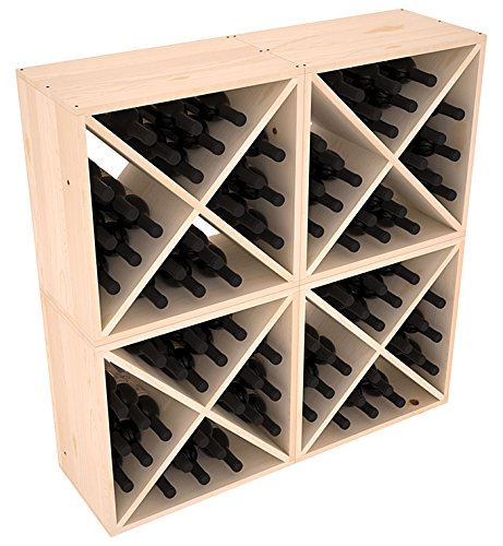 Wine Racks America Ponderosa Pine 96 Bottle Wine Cube. Unstained
