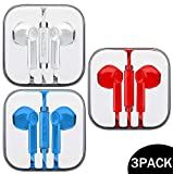 Ultimate-Audio 3-PACK Premium Earphones/Earbuds/Headphones with Stereo Mic&Remote Control Compatible with iPhone iPad iPod Samsung Galaxy & Android Smartphones, PC 3.5 mm Audio Jack - White, Red, Blue