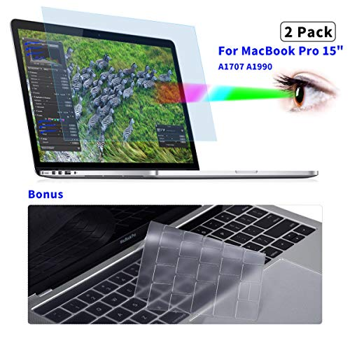 2-Pack Eye Protection Anti Blue Light Blocking & Anti Glare Screen Protector for MacBook Pro 15 inch 2018 2017 2016 Released Model A1707 A1990 Touch Bar Laptop Monitor Cover Filter with Keyboard Cover