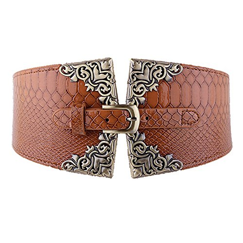 Women's Fashion Elastic Wide Belt Crocodile Leather Pin Buckle Retro Belt (Pin Belt)