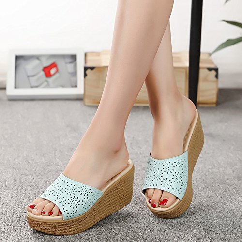 Holiday Light fereshte Slippers Heel Hollow Wedge Blue Out Toe Women's Peep 00wTqaF