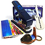 Pick-a-Palooza DIY Guitar Pick Punch Mega Gift Pack - the Premium Pick Maker - Leather Key Chain Pick Holder 15 Pick Strips and a Guitar File - Blue [並行輸入品]