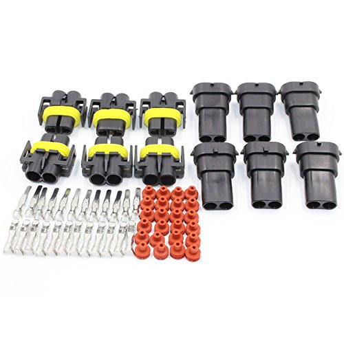 HiseNook 6 Set H8 H11 Male and Female Wiring Harness Socket Wire Connector Adapter For HID Led Headlight Fog Lights