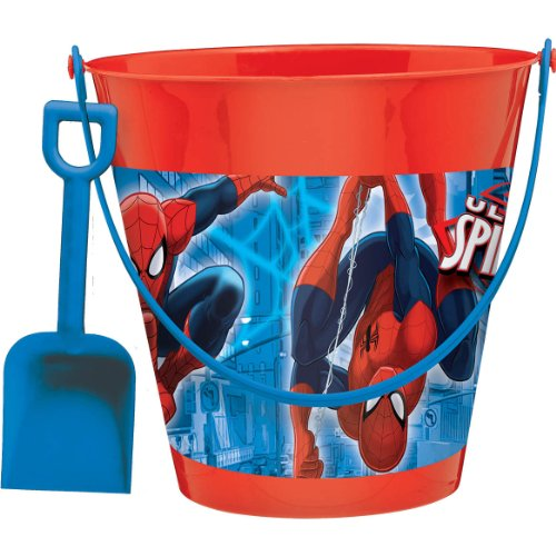 Amscan Boys Ultimate Spider-Man Birthday Party Pail with Shovel Favour (Pack Of 2), Blue/Red, 7 1/4