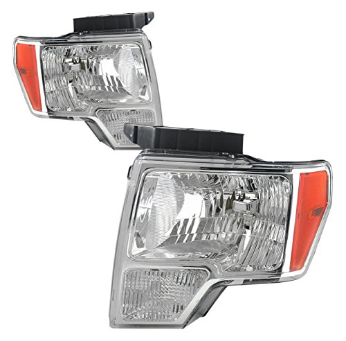 DNA Motoring HL-OH-F1509-CH-AM Headlight Assembly, Driver & Passenger Side - Ford F150 Front Side Marker