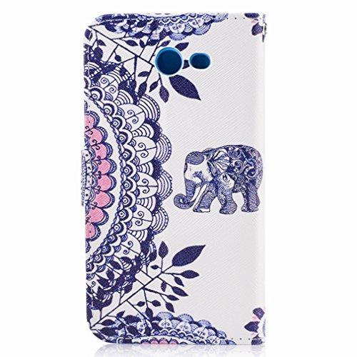 Yiizy Samsung Galaxy J3 Prime Custodia Cover, Elefante Blu Design Sottile Flip Portafoglio PU Pelle Cuoio Copertura Shell Case Slot Schede Cavalletto Stile Libro Bumper Protettivo Borsa