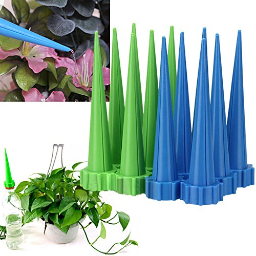 (JTW- Lot of 12 Pcs Get Straight to The Root - Automatic Garden Cone Watering Spike Plant Flower Waterers Bottle Irrigation Plastic (L13 cm,dai 3cm) Green Blue Color)