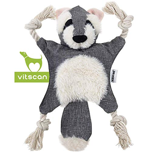 Dog Squeaky Toys Raccoon Dog Toy No Stuffing Popular Crinkle Dog Toy with Cotton Rope Limbs Part Plush Dog Chew Toys with Eyes Embroidery Design Stuffless Dog Toy for Puppy Small and Medium Dogs