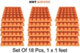 MMT Acoustix Pyramid Studio Acoustic Panel , 1'x1', 2', MMT Orange, Set of 18