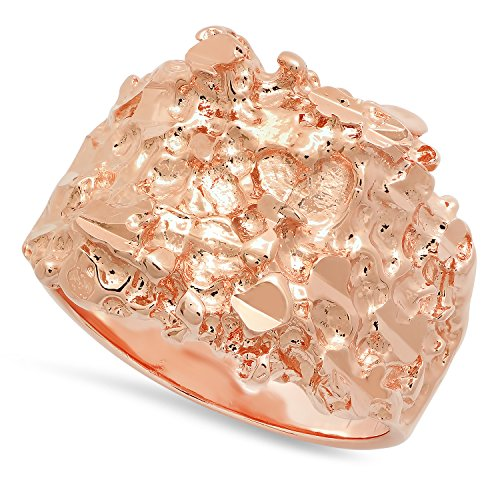 The Bling Factory Men's Rose Gold Plated Chunky Nugget Pinky Ring, Size 10 + Microfiber Jewelry Polishing Cloth - Gold Plated Nugget