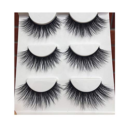 (D-15 Winged Cotton 3D False Eyelashes Stitch Cross Messy Eye Lashes Fashion Makeup,1 Box 3 Pairs)