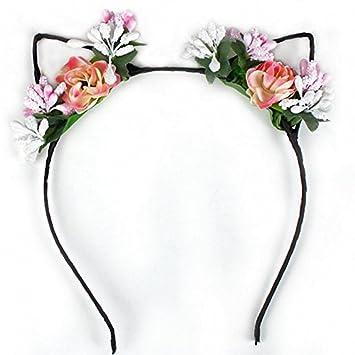 WeiMay Cintas para el pelo Tela Flor Orejas de gato Diademas para los oídos Diadema para el oído Aro del pelo Elegante Mujeres Chica Hairband Accesorios ...