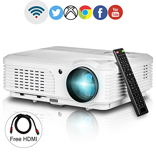 Wifi Projector 1080p Support,EUG LCD LED 3200 Lumen Home Cinema Projectors Android HDMI USB for Party Outdoor Movie Artwork Projection,Wireless for iPad iPhone 1280x800