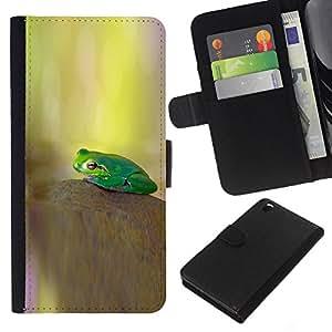KLONGSHOP // Tirón de la caja Cartera de cuero con ranuras para tarjetas - kamen lyagushka Zelenaya fon - HTC DESIRE 816 //