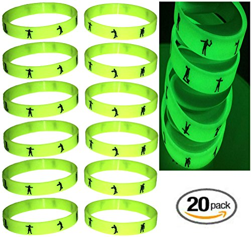 20 pcs ZOMBIE GLOW in the DARK Halloween Wristbands; Halloween prize giveaways goodies toys favors gifts halloween novelty toys goody bag filler treats for kids pinata filler class gifts.