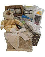 Baby Gift Basket: They Did Not Stay 6 Feet Apart. Sherpa Blanket. 3pc Snack Containers, 3 pc Layette Gift Set and more