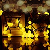 Hulorry Outdoor Starry Lights, Waterproof Solar String Lights 50 LED Ball String Lights Holiday Party Decoration Lights for Home, Lawn, Wedding, Patio, Party and Holiday,Warm White